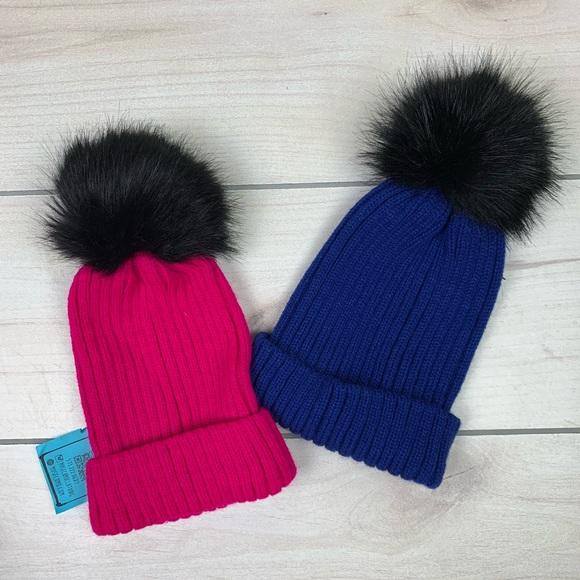9f000d08 Accessories | Nwt Cobalt Blue Hot Pink Pom Pom Beanie Fur Puff ...